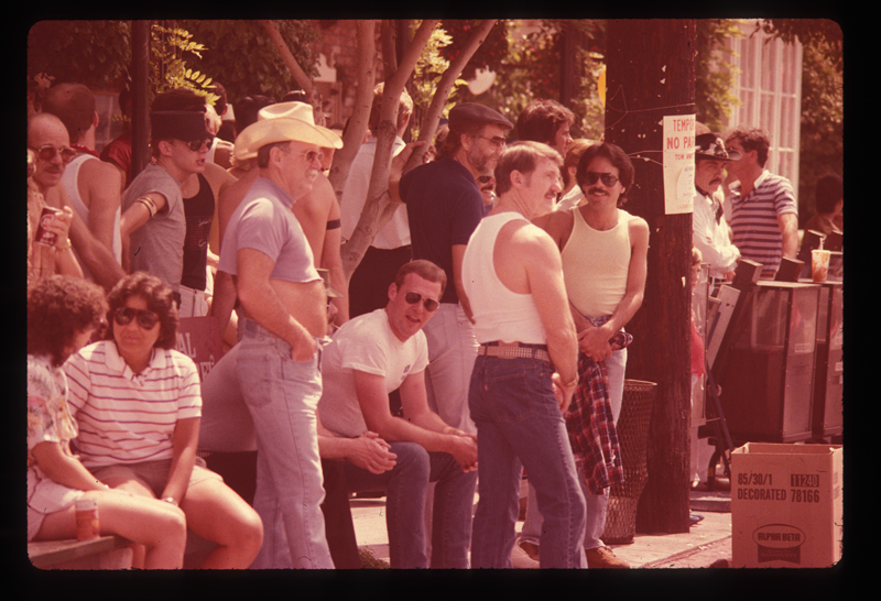 Crowd at the Los Angeles Christopher Street West pride parade. 1982.