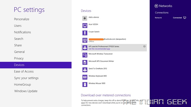 Windows 8 - Settings, Devices