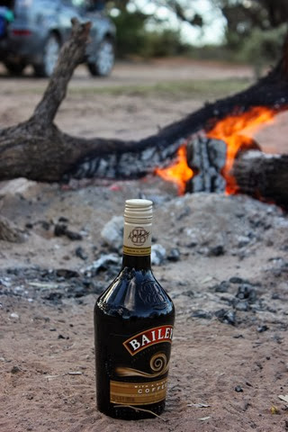 Camping with roasted marshmallows & Baileys