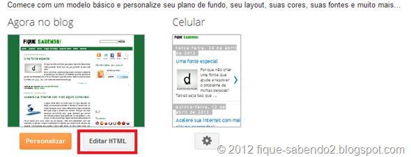 Clique em Editar HTML