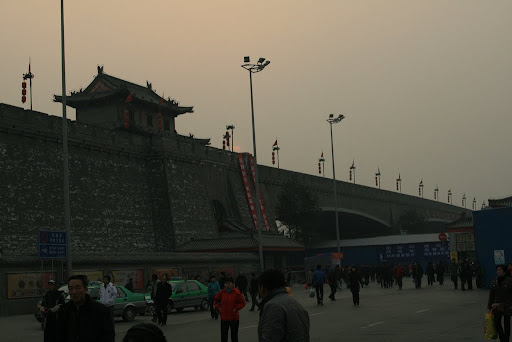The magnificent city walls of Xi'an viewed from the train station.