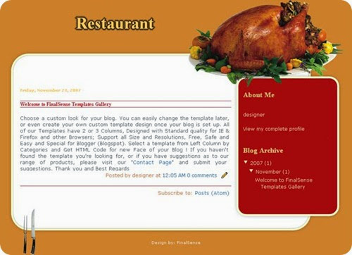 blog restaurant template