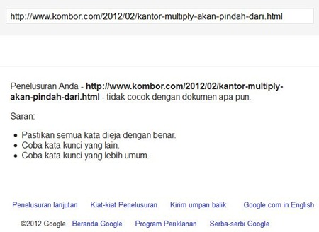 blogspot custom domain tidak diindeks google