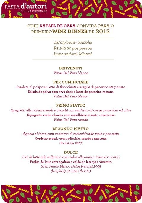 menu - wine dinner