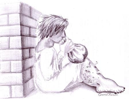 Copilul cu punga sau un aurolac cu cangrena si viermi la picior desen in creion