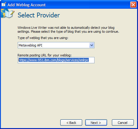 Setting up Windows Life Writer to post to IBM Blogs