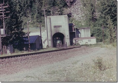 Burlington Northern GP40M #3518 emerging from the East Portal of the Cascade Tunnel at Berne, Washington in 1994