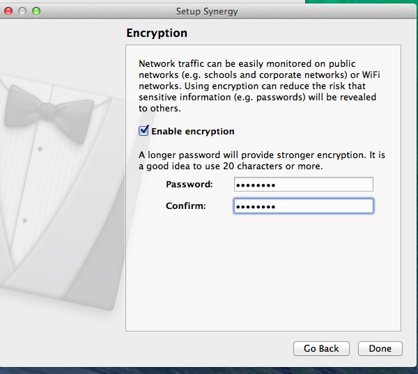 Mac Synergy appp asking you to set up encryption