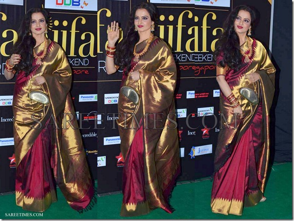 Rekha_Maroon_Traditional_Saree_IIFA_Awards