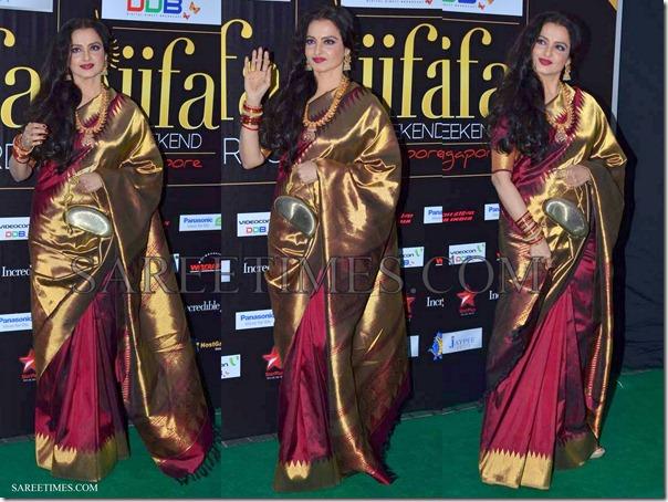 Rekha_Maroon_Traditional_Saree_IIFA_Awards