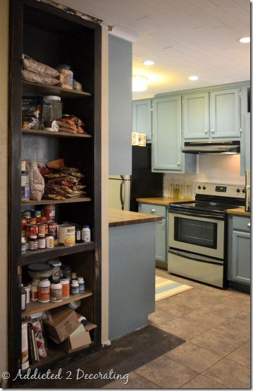 bookcase turned pantry 1