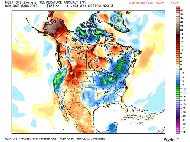 Forecast North America temperature anomalies for 19 June 2013 by GFS model, showing extreme departures from normal temperatures across the continent. Graphic: WeatherBell.com