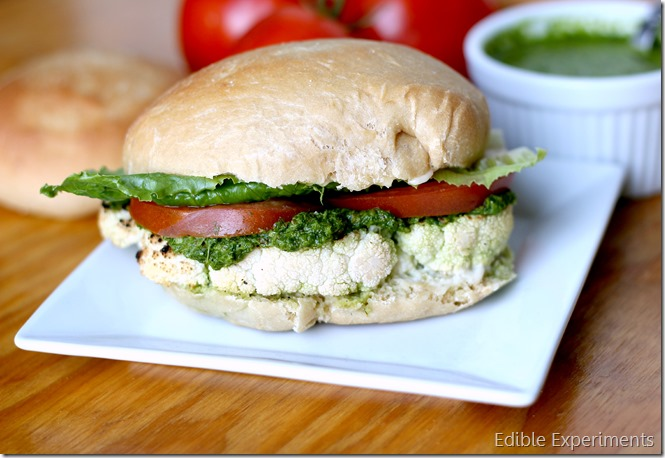 Grilled or Roasted Cauliflower Steak Burger with Chimichurri Sauce
