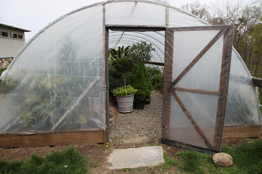 Sharkey, let's check out the hoop house.  I think this is where all of the tropical plants from the sunken garden have been stored for the winter.  I can't wait for them to be brought out of here.