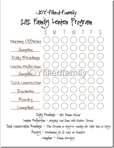 JOYfilledfamily Lenten Program Chart