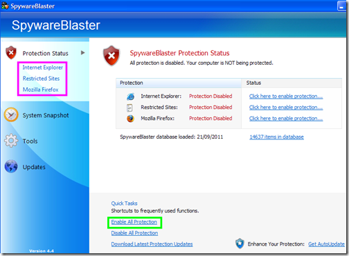 SpywareBlaster Protection Status