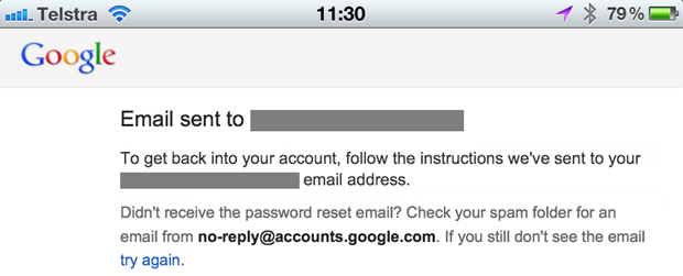 Confirmation of a 2FA reset on Google