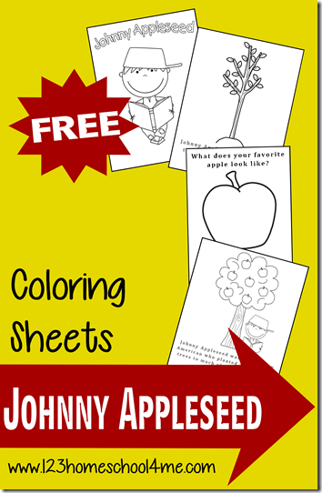 FREE Johnny Appleseed Coloring Sheets