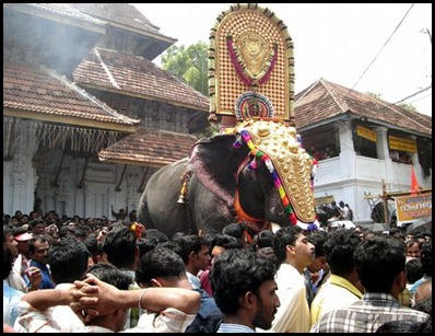 Chief Elephant Bearing the Sacred Temple Image at Pooram