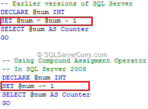 SQL Server Compound Assignment Operator