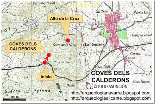 Mapa ruta Coves dels Calderons - La Romana