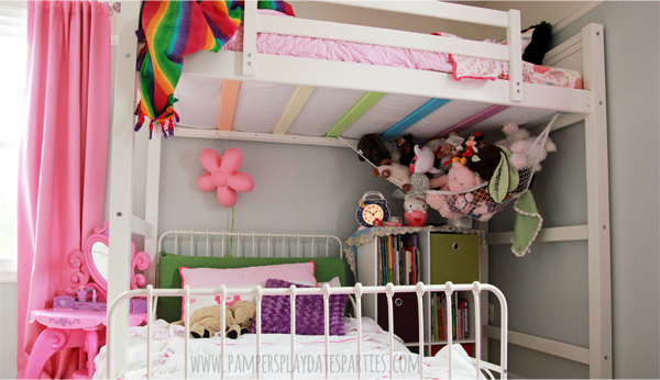 Shared Girls Room Loft Bed and White Dressers2