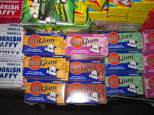 Glee Gum was located in front of the cash register.