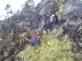 Negotiating the tricky cliff on Sumbing (Daniel Quinn, October 2010)