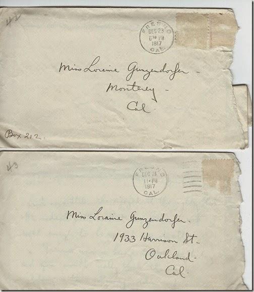 Envelopes to Loraine