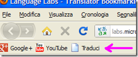 Microsoft Translator Bookmarklet nella barra dei preferiti