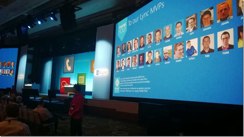 So cool! Featured at the keynote screen together with the other MVP's #Lyncconf14 #MVPbuzz