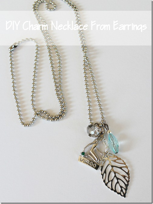 DIY Charm Necklace from Earrings from Setting for Four #diy #craft #gift #tutorial #necklace