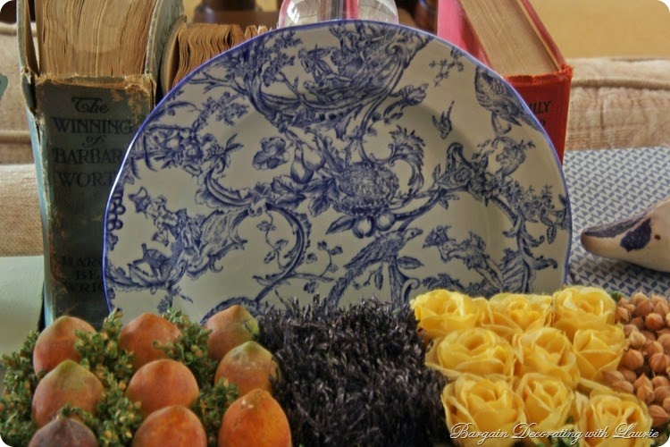 Blue and white plate with birds and nests-Bargain Decorating with Laurie
