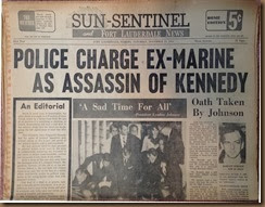 Kennedy_newspaper headline_23 Nov 1963_Sun Sentinel-2