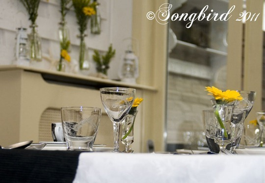 Yellow White Black Table Setting