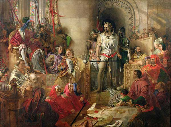 GHA33826 The Trial of Sir William Wallace at Westminster; by Scott, William Bell (1811-90) (attr. to); oil on canvas; 137.2x185.4 cm; © Guildhall Art Gallery, City of London; English, out of copyright