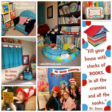 Dr. Seuss decor and book display obSEUSSed