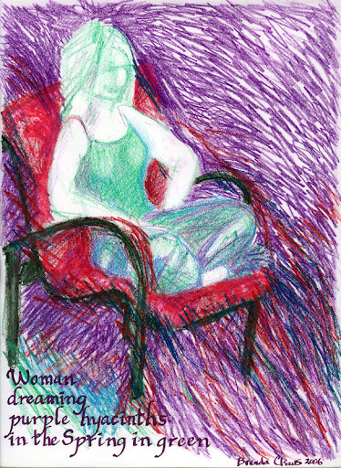 Woman dreaming purple hyacinths in the Spring in green. A drawing of my daughter on our red chair.