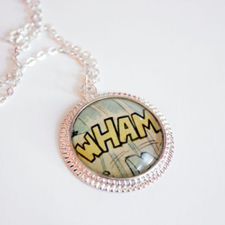 WHAM Recycled Vintage Comic Book Necklace from Comic Salvage