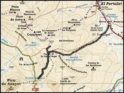 Cascadas de Canal Roya (Pirineos) Mapa