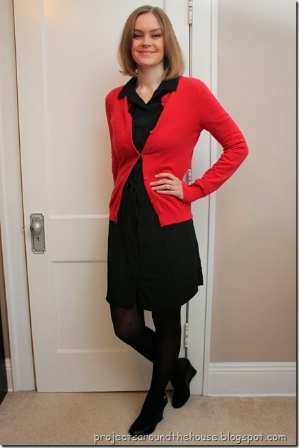 Black shirt dress, red cardigan