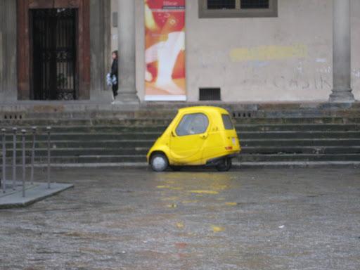 A tiny yellow... car?