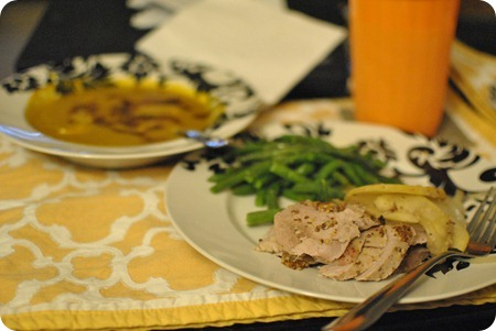 Butternut Squash Soup and Pork Tenderloin with Apples and Onions