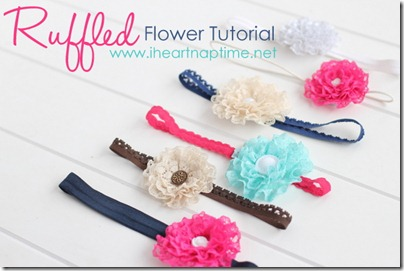Here to see the tutorial on how to make these ruffled lace flowers