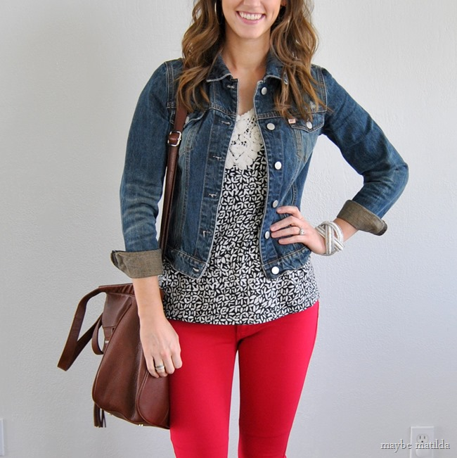 black/white print + denim jacket + red skinnies // www.maybematilda.com