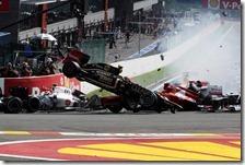 Il mega crash al gran premio del Belgio 2012