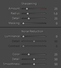 Default sharpening and noise reduction were used