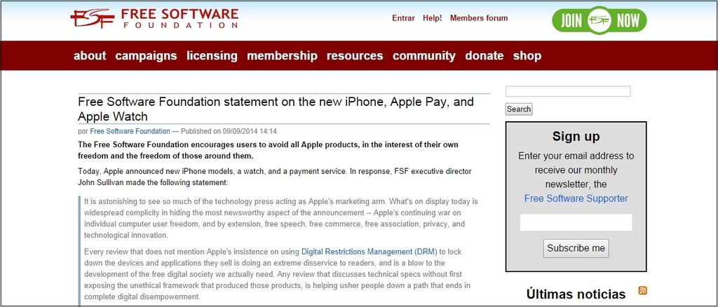 Free Software Foundation critica Apple