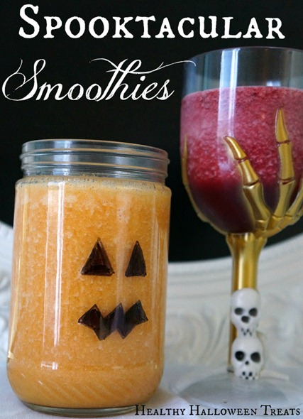 Healthy Halloween Ideas - Orange smoothie and beet smoothie that everyone will love