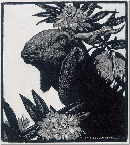 Goat and rhododendron